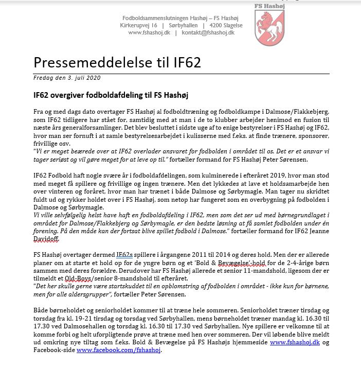 IF62 og FS Hashøj er blevet enige om at samle arbejdet om fodbold i Dalmose og omegn.